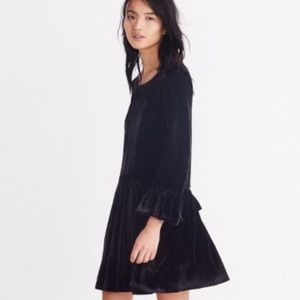 Madewell Velvet Bell Sleeve Drop Waist Dress
